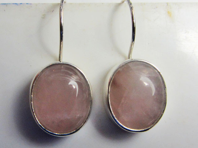 ROSE QUARTZ  SHEPPARD HOOK SILVER EARRINGS  MGMG 407