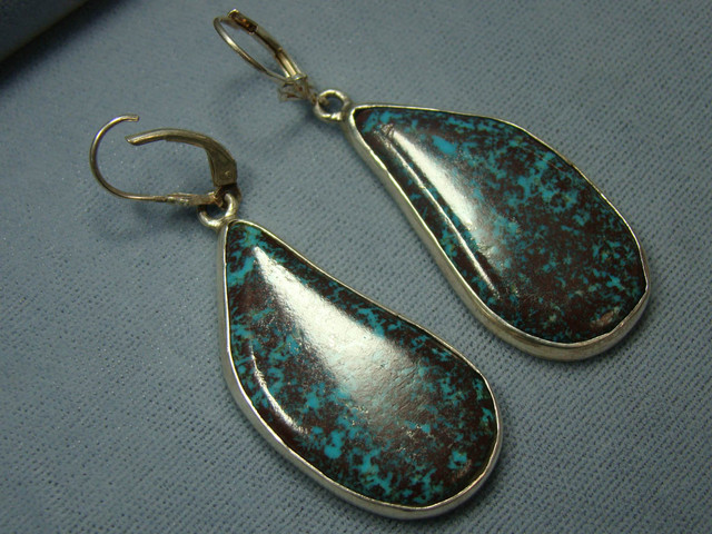 SALE!! TURQUOISE EARRINGS SET IN STERLING SILVER D JA-3