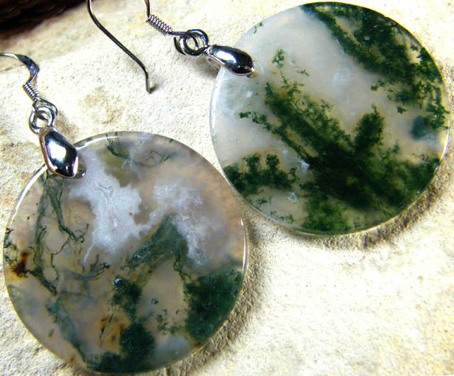 MOSS  AGATE EARRINGS 40.20 CTS [SJ475]