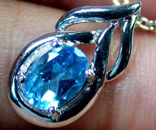 BEAUTIFUL BLUE TOPAZ  PENDANT 14K WHITE GOLD 0.5CTS MY 606E