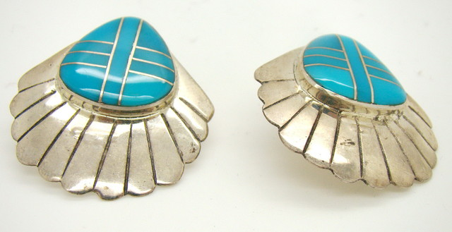Sterling Silver and Turquoise Earrings JA-48