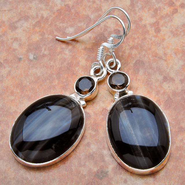 Sterling Silver Agate Earrings - Lovely - 1 7/8 inches