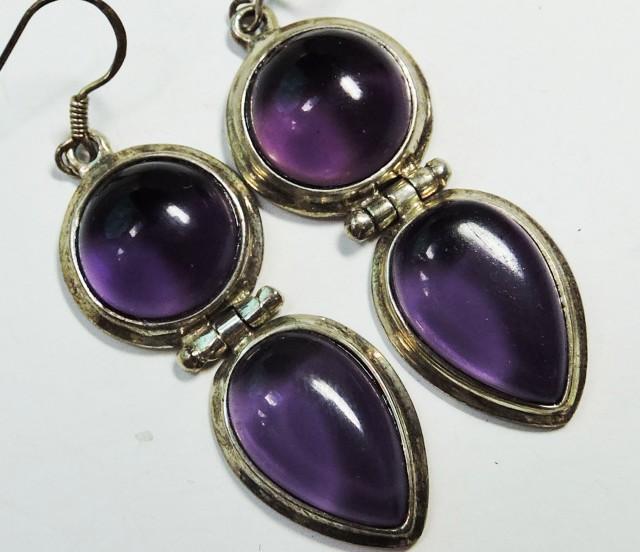 48 CtsDual  Amethyst Pair Earrings HS1354