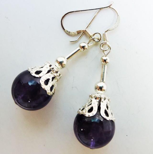 33.6 Cts Amethyst Pair Earrings HS1356