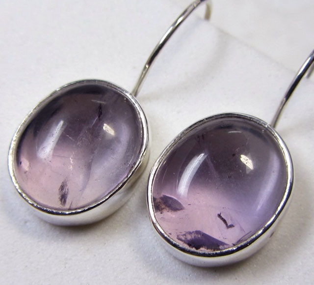 19 CTS AMETHYST  SILVER SHEPPARD HOOK EARRINGS MYGM485