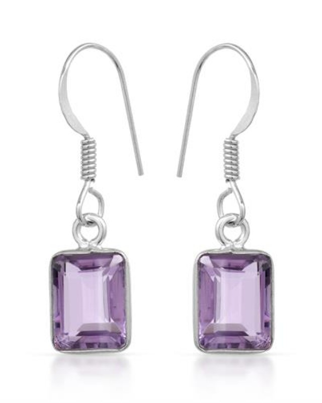NEW - 4.95 CTW OF GENUINE EMERALD CUT AMETHYST AND 925 STERLING SILVER EARR