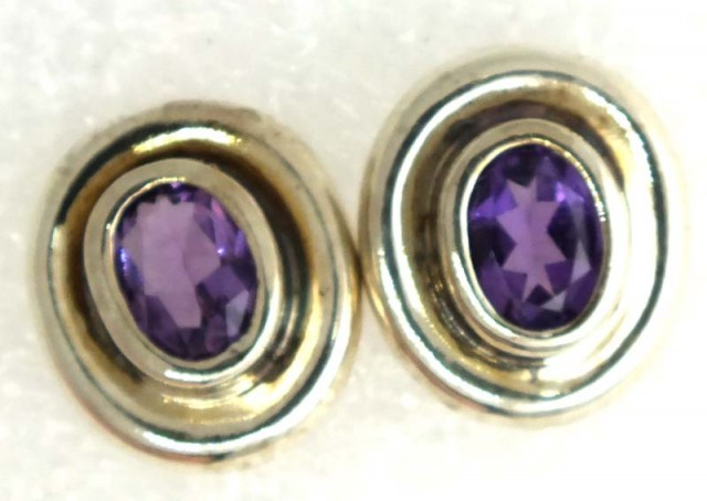 AMETHYST SILVER EARRINGS 20  CTS ADJ-23