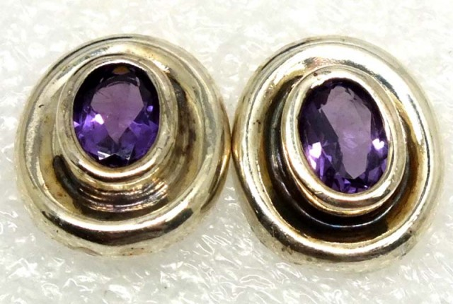 AMETHYST SILVER EARRINGS 20  CTS ADJ-27