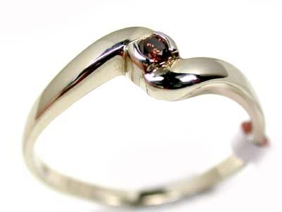 AUSTRAILAN COGNAC DIAMOND .07 WHITE GOLD RING  SIZE 7 OP32