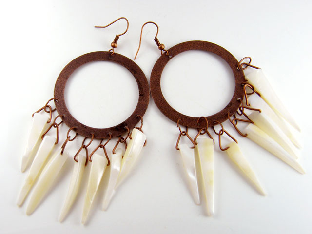 PAIR LARGE TRIBAL PEARL SHELL EARRINGS  TR 501