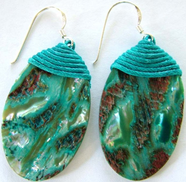 AUSTRALIAN ABALONE PEARL  SILVER EARRINGS 35 CTS [GT1331]