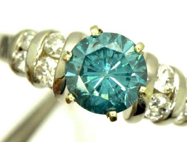 BLUE DIAMOND RING 14K 1.10 CT DIAMOND