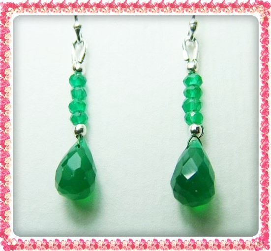 Quality Green Onyx in .925 Silver Earrings JW32