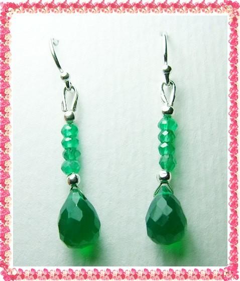 Quality Green Onyx in .925 Silver Earrings JW35