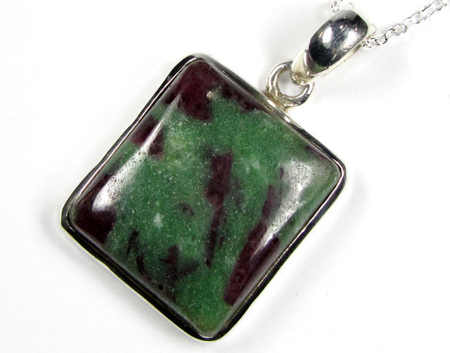 RUBY ZOISITE STERLING  SILVER PENDANT  68 CTS GTJA13