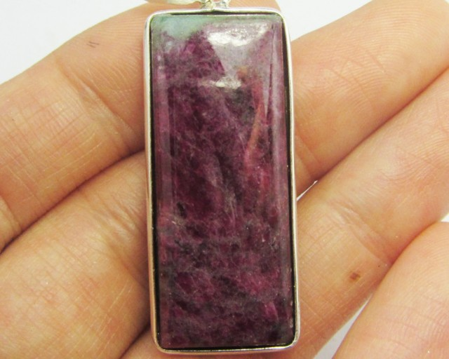 52 CTS RUBY ZOSITE SILVER PENDANT  GG 1063