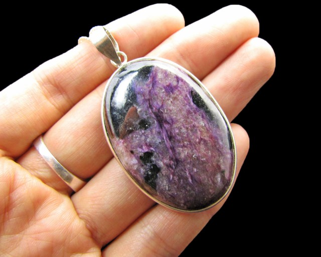 70 cts Large Charoite SilverPendant   MJA 745