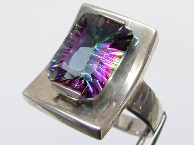 Mystic Quartz  set in Large Silver Ring  size 12.5   MJA 682