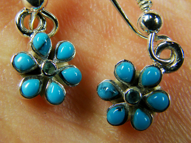 TURQUOISE  CLUSTER   STERLING SILVER EARRINGS     MYT674