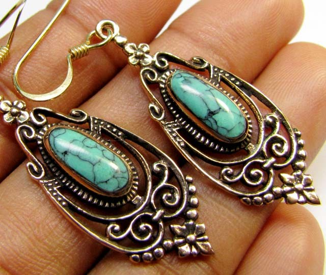 DYED HOWLITE BRONZE EARRINGS RT 324