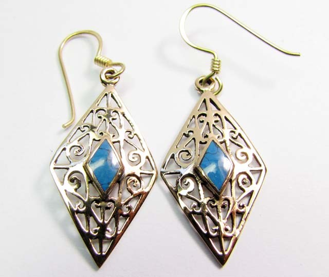 DYED HOWLITE BRONZE EARRINGS RT 328
