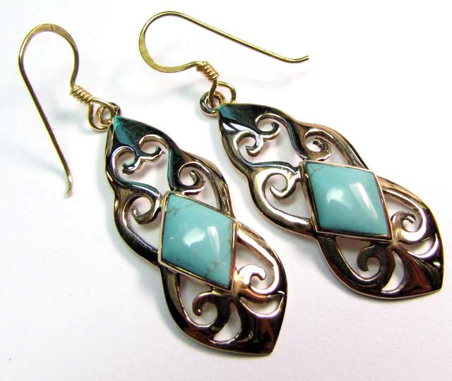 DYED HOWLITE BRONZE EARRINGS RT 336