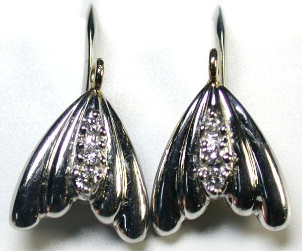 GENUINE BRILLIANT CUT DIAMONDS PLATINUM EARRINGS R1789