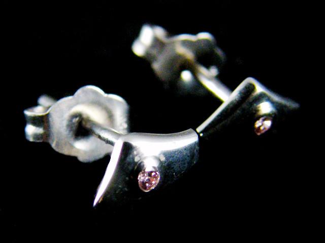 ARGYLE PINK  DIAMOND  18K WHITE GOLD EARRINGS  OP 1434