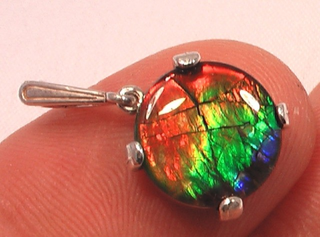"HIGH QUALITY "" FLASHY RAINBOW' AMMOLITE GEM QUARTZ CAPPED PENDANT 925"