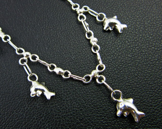 DOLPHIN CHARM ANKLET SILVER 925 CHAIN  27CM  CMT 185