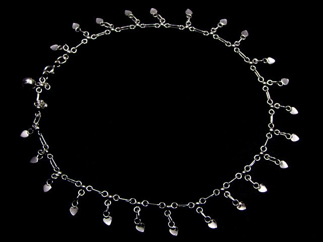 LOVE HEART CHARM SILVER ANKLET 925  CMT 197