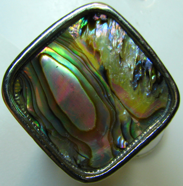 PAUA SHELL ELECTRO PLATED  SILVER RING SIZE 19