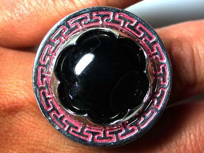 UNIQUE DRESS BLACK AGATE  RING SIZE 8.5 RN  470