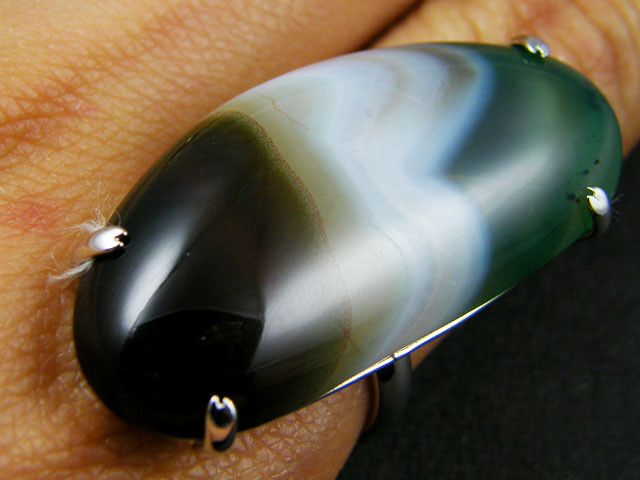 LARGE BRAZIL AGATE STONE RING ADJUSTABLE SIZE AAT322