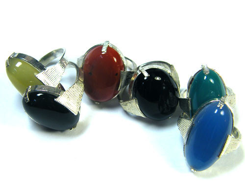 PARCEL 6 PCS NATURAL AGATE RINGS  TR 352