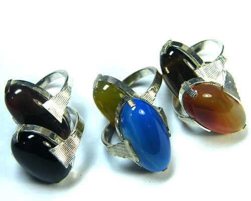 PARCEL 6 PCS NATURAL AGATE RINGS  TR 342