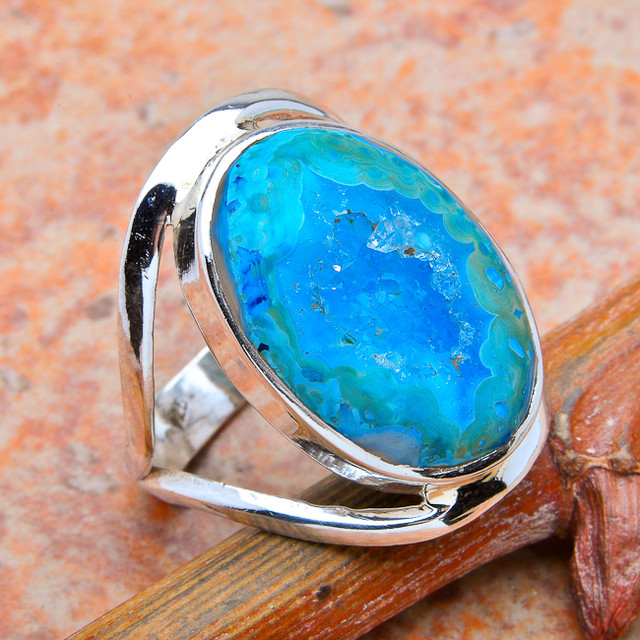 Sterling Silver Blue Agate Ring - Size 8