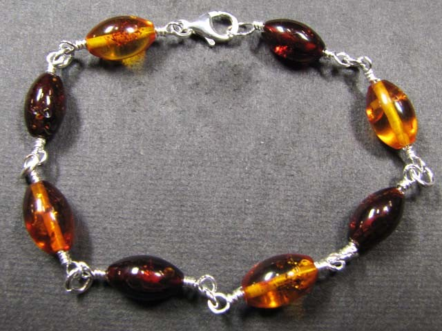 BALTIC BEAD  AMBER SILVER   BRACLET  23 TCW    MYG 714