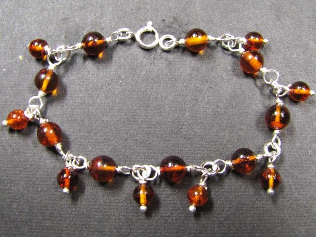 BALTIC BEAD  ROUND AMBER SILVER   BRACLET  34 TCW    MYG 725
