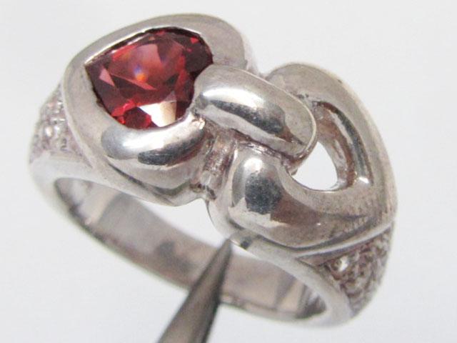 Heart Garnet set in Silver ring size 9.5  MJA 813