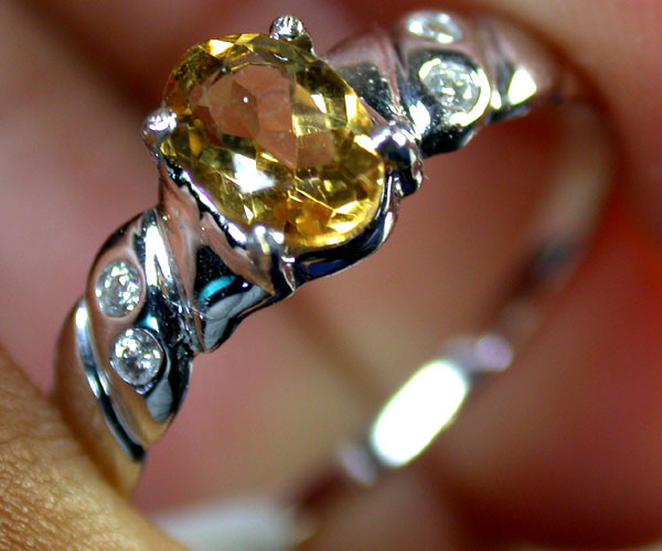 BEAUTIFUL CITRINE GEMSTONE 14K WHITE GOLD 0.7CTS  MY 607
