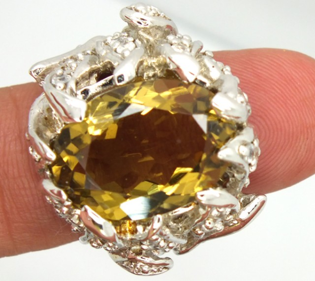 CITRINE SILVER RING  81.90 CTS  SIZE-5.5  RJ-243