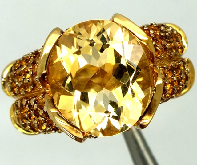 CITRINE SILVER RING 49.55  CTS  SIZE-7    RJ-262