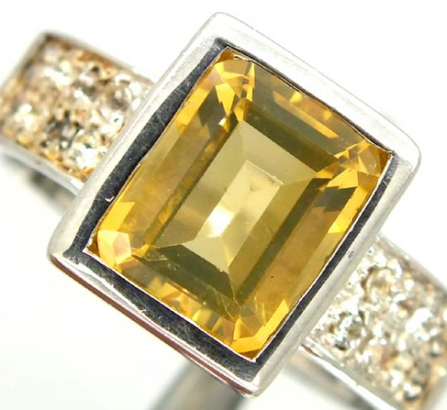 CITRINE  SILVER RING 41  CTS  SIZE-10.50    RJ-356