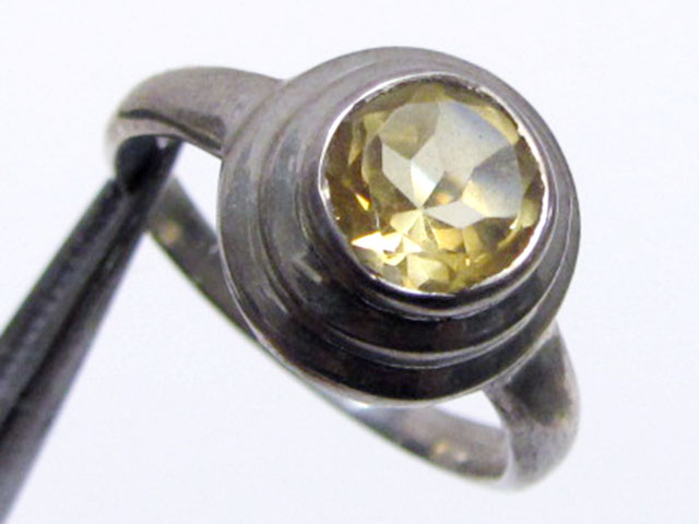 Round faceted citrine ring rize 8   MJA 332