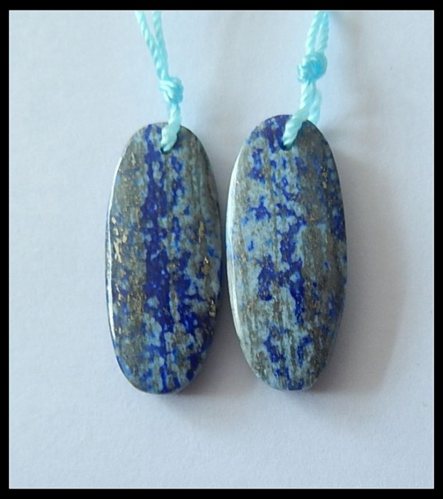 23.5ct Natural Oval Lapis Lazuli Earring Beads,September Birdday Stone