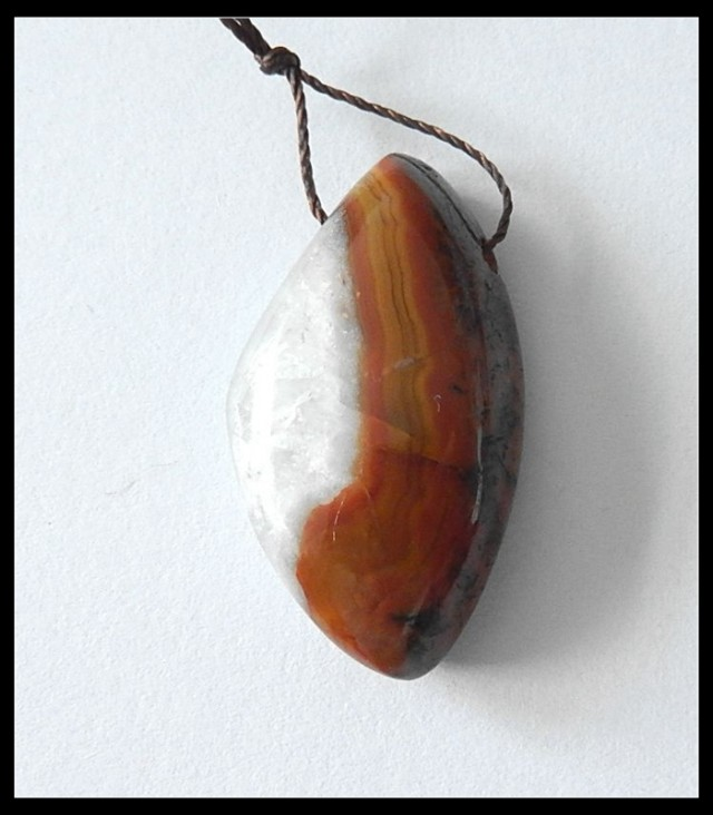 30Ct Natural Zhangguo Red Agate Gemstone Pendant Bead