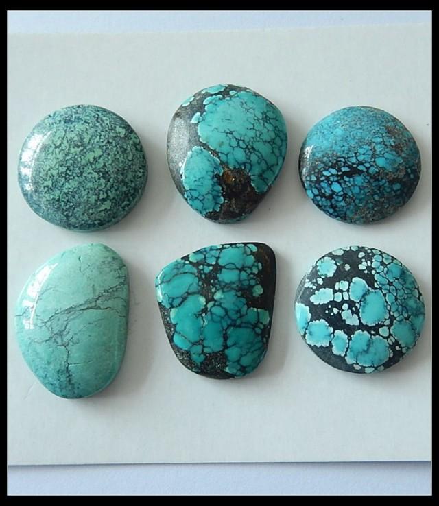 6 PCS Turquoise Gemstone Cabochons,121ct
