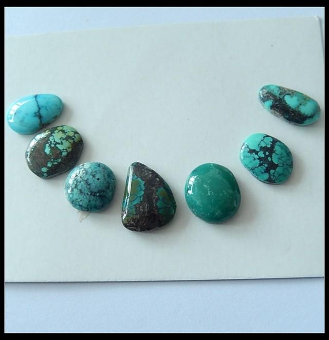 7 PCS Turquoise Gemstone Cabochons,61ct
