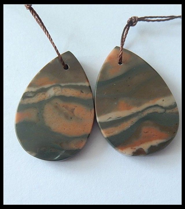 41ct Natural Zebra Jasper Earring Beads